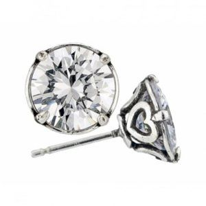 Silver Cubic Zirc 8MM Post Earring
